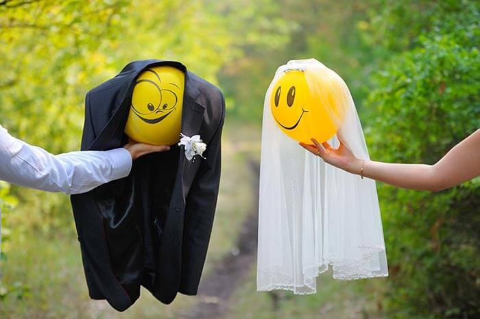 Hochzeitsbilder lustig mit Luftballons