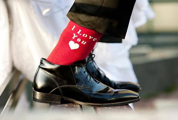 Lustige Hochzeitsbilder mit Socken