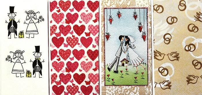 Taschentücher Hochzeitsmotiv