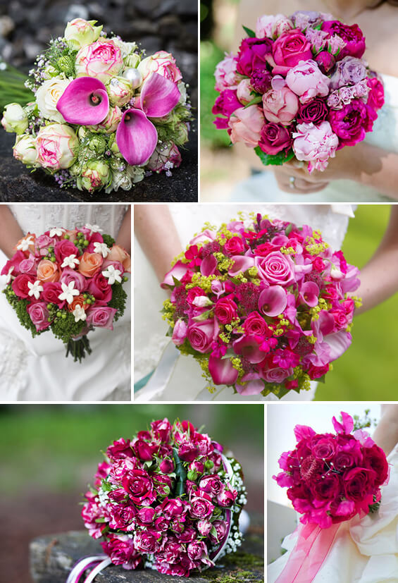 Brautstrauß in Pink und Lila