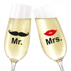 Glasaufkleber für das Brautpaar