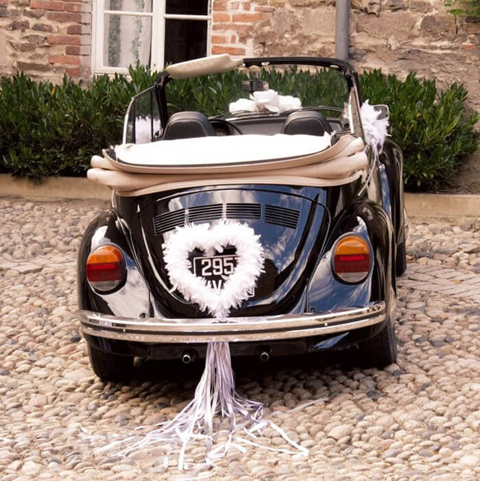 Hochzeitsauto schmücken - Herz