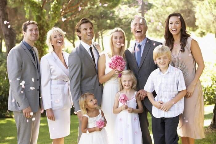 Hochzeitsbild mit der Familie