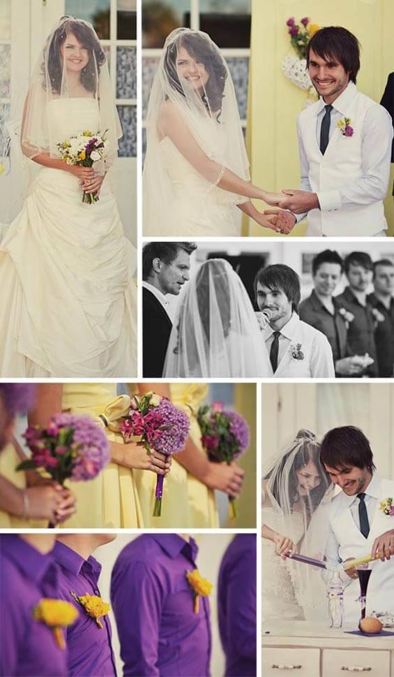 Hochzeitsinspiration lilagelb