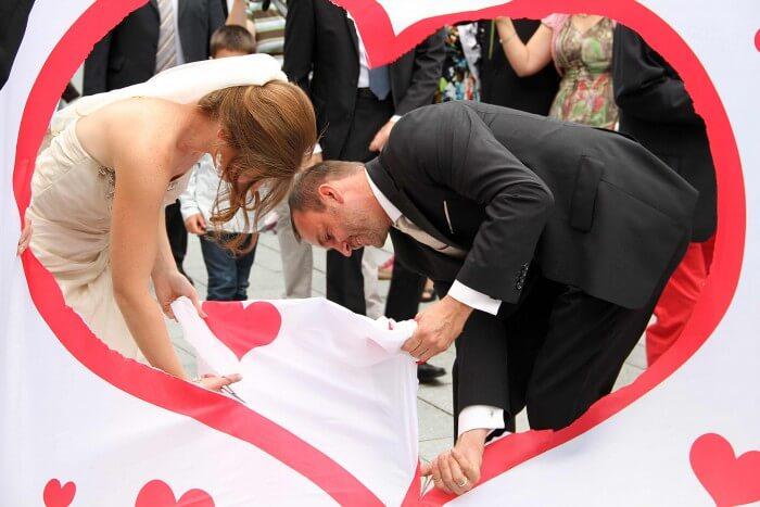 Hochzeitsspiele Hochzeitsgeschenk Leintuch Herz