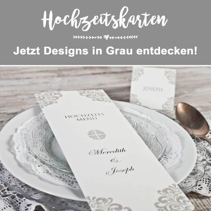 Hochzeitskarten in Grau