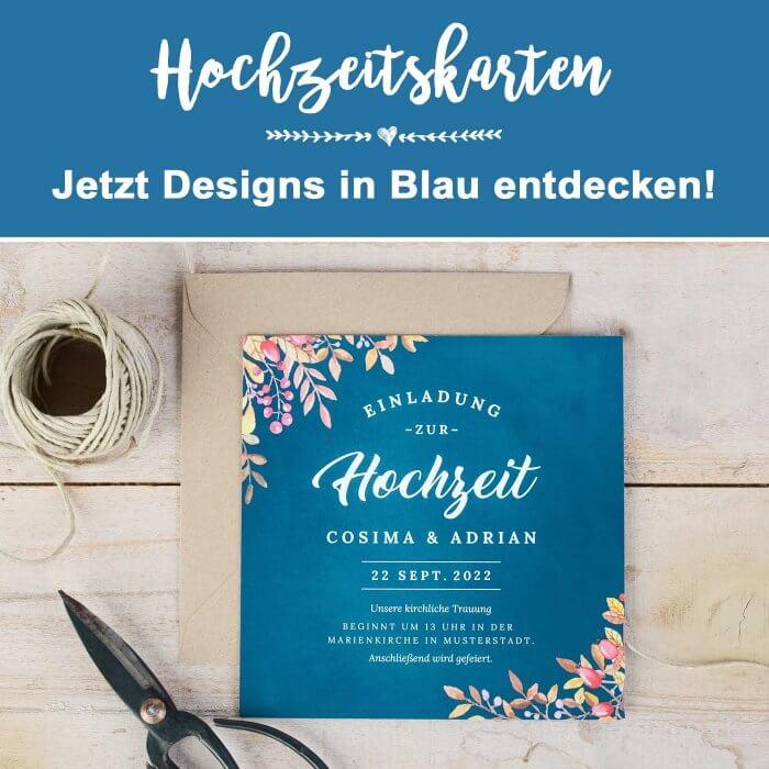 Hochzeitskarten in Blau