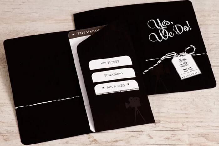 Schwarze Hochzeitseinladung
