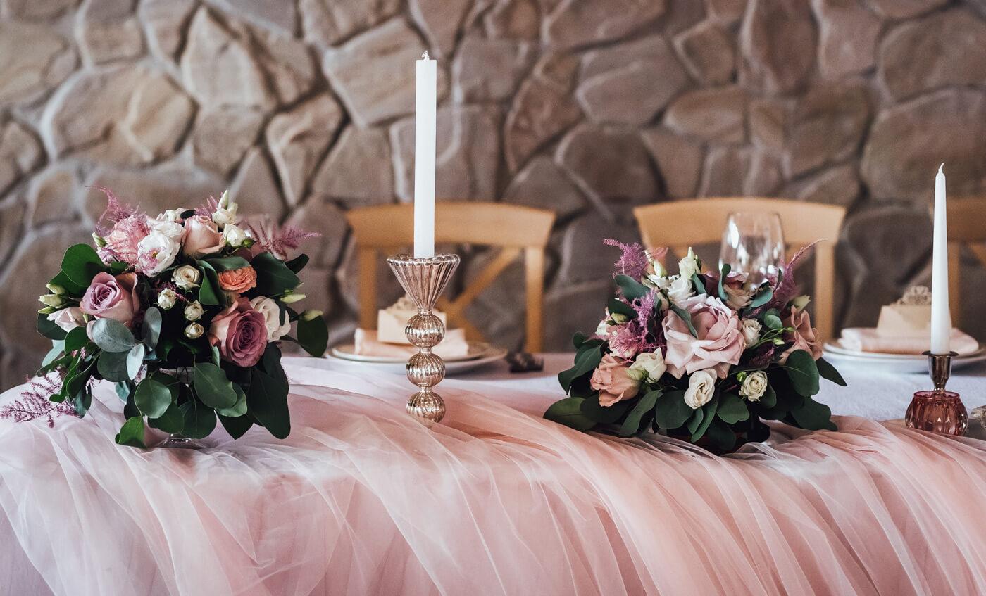 Hochzeitsdeko Altrosa