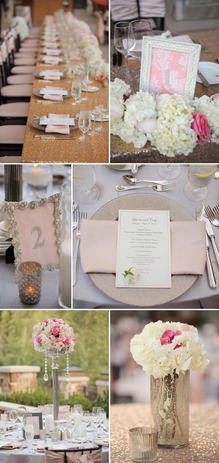 Tischdeko Hochzeit in Rosa
