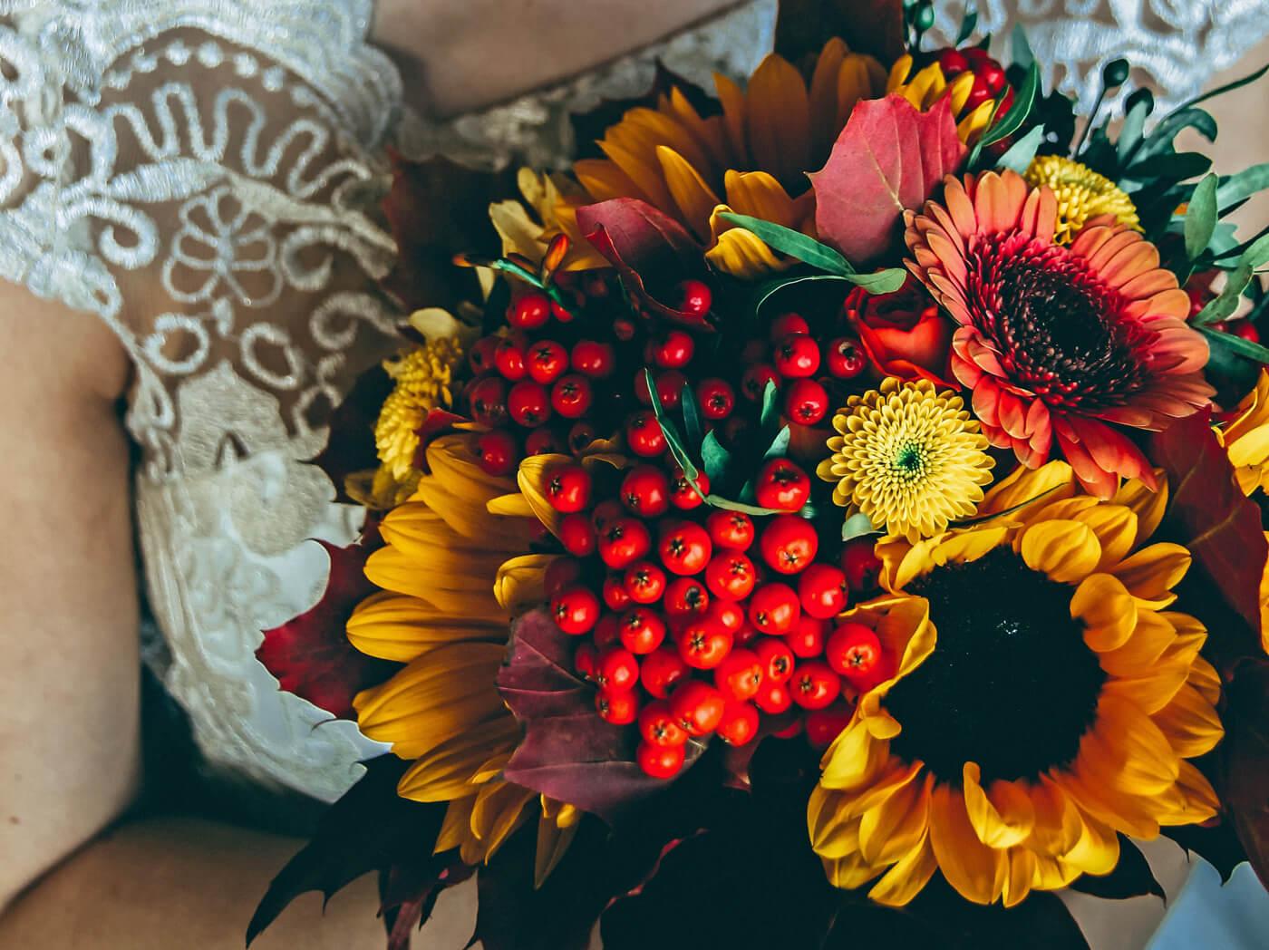 Herbst Sonnenblumen Brautstrauss