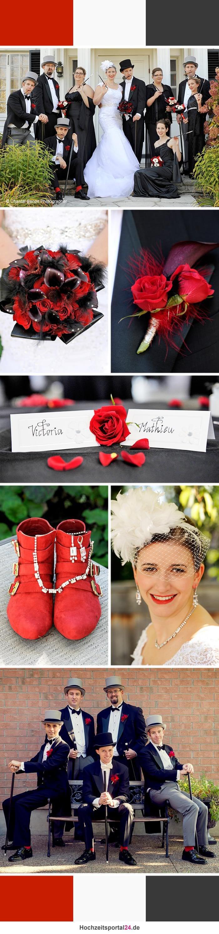 Hochzeitsfarben Schwarz - Weiss - Rot | Mottohochzeit