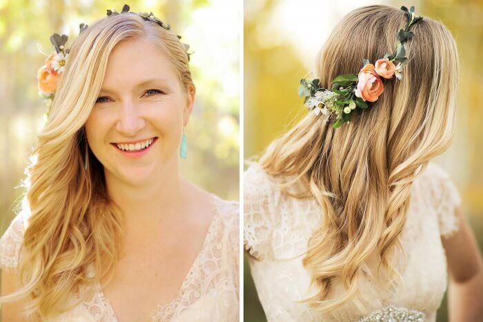 Brautfrisur mit Blumenkranz im Herbst