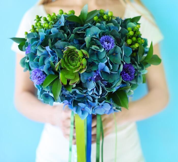 Brautstrauß Hortensie Blau Grün