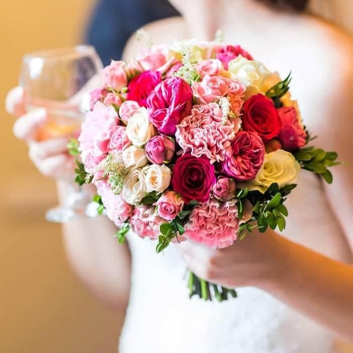 Brautstrauß Rosen pink