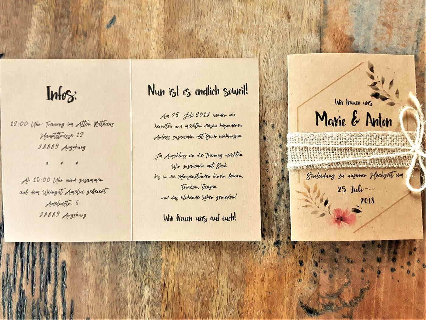Hochzeitseinladung Text-Vorlagen und Beispiele   große