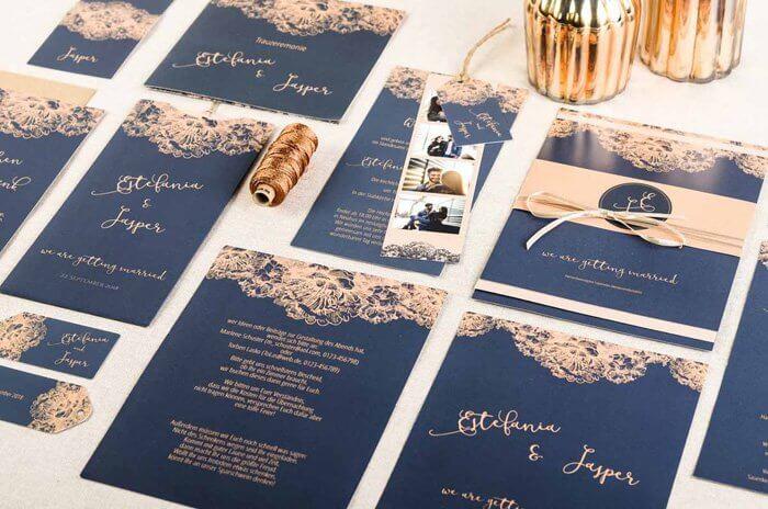Hochzeitseinladung Kupfer