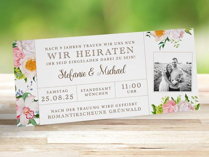Hochzeitseinladung Ticket