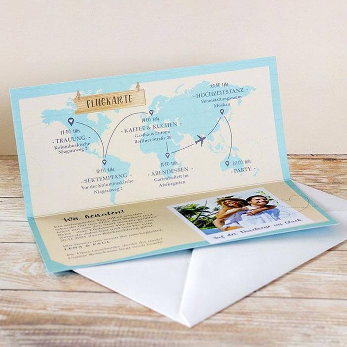Hochzeitseinladungen Reisen