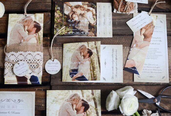 Hochzeitseinladungskarten mit Foto