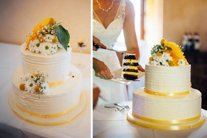 Hochzeitstorte in Gelb & Weiß