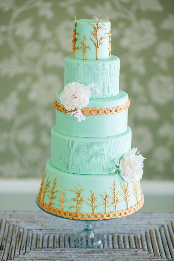 Hochzeitstorte in Mint