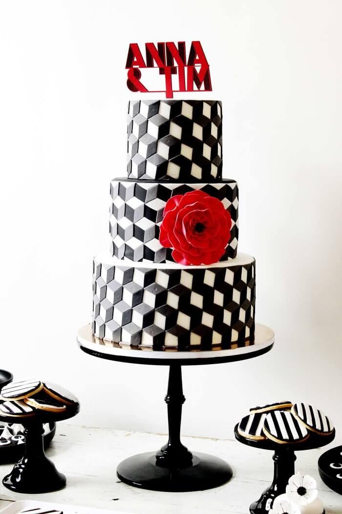 Hochzeitstorten schwarz-weiß