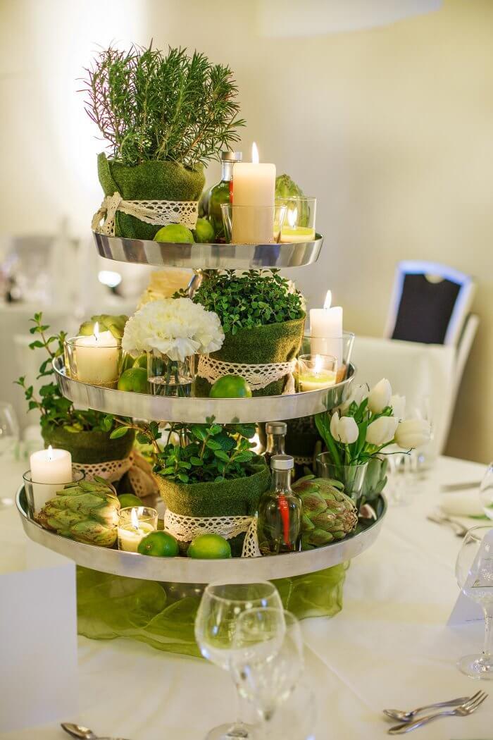 Tischdeko in Grün und Weiß