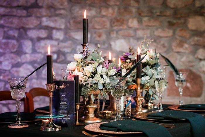 Tischdeko mit Kerzen