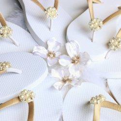 Hochzeits Flip Flops weiß