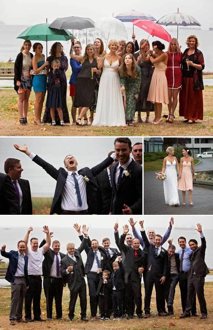 Gäste der Regenschirm Hochzeit