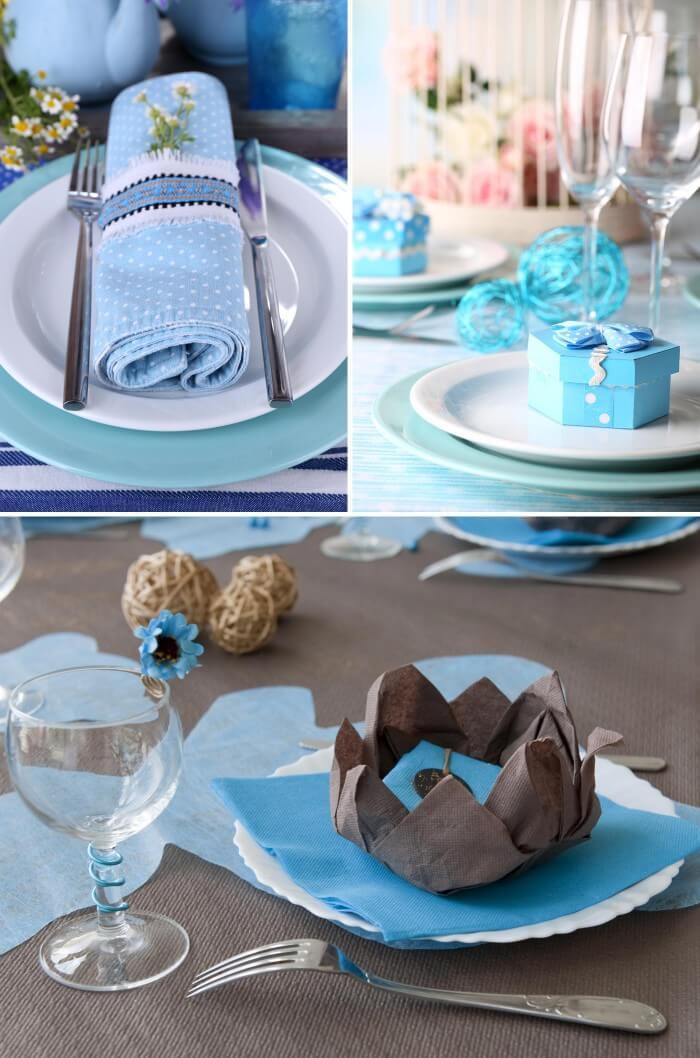 Tischdeko in Türkis und Blau