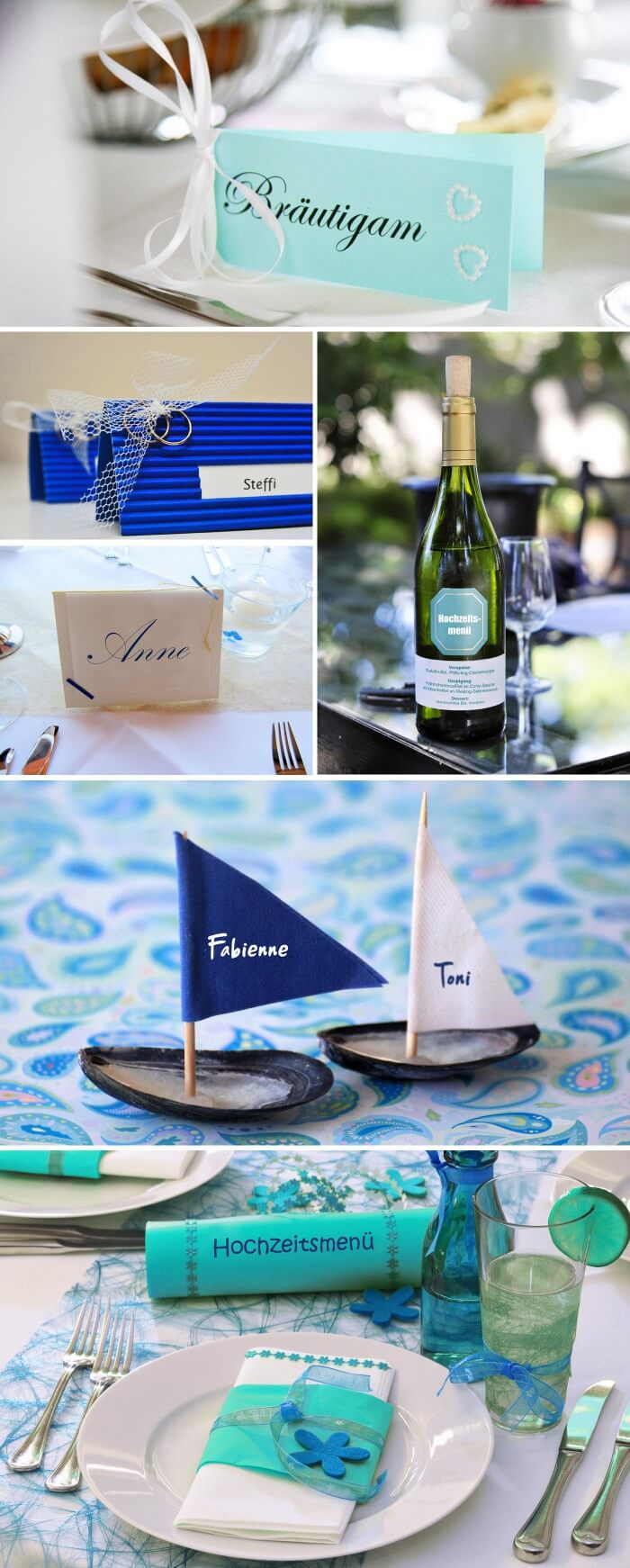 Tischkarten Türkis Blau