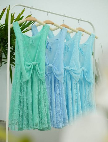 Brautjungfernkleid Blau Spitze
