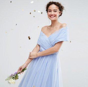 Hellblau Brautjungfernkleid