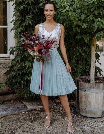 Blaues Brautjungfernkleid