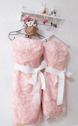 Brautjungfernkleider rosa Spitze