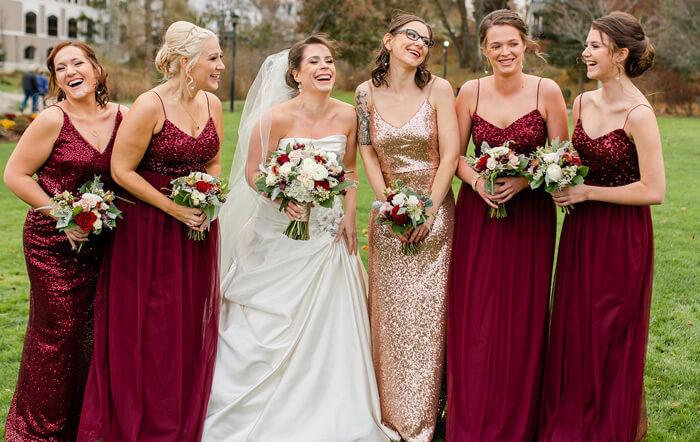 Brautjungfernkleider lang rot