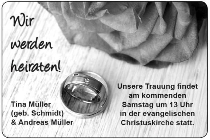 Hochzeitsanzeige Zeitung