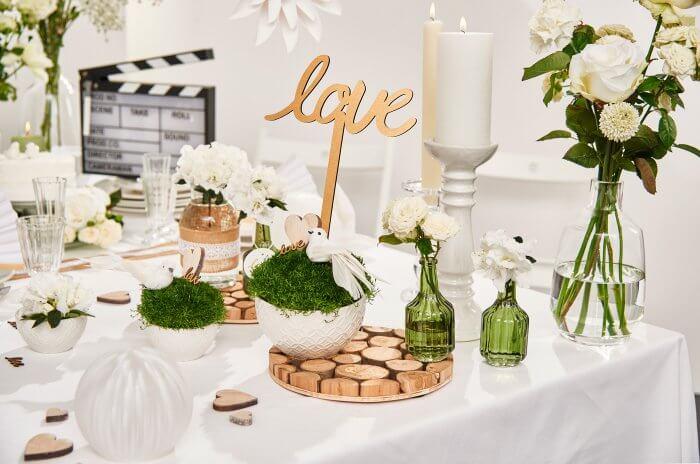 Weiße Hochzeitsdeko