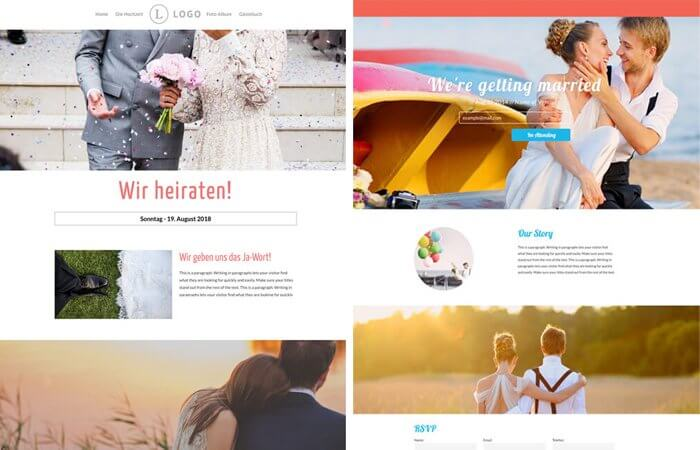 Hochzeitshomepage Inhalt