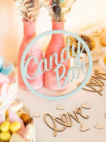 Candy Bar Holzschild