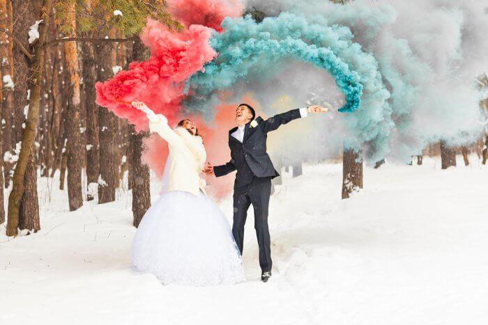 Smoke Bomb als Highlight für die Hochzeitsfotos