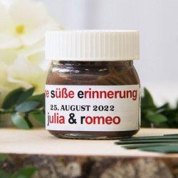 Personalisierte Gastgeschenke Mini-Nutella