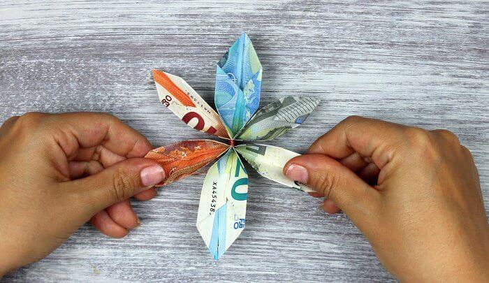 Geldblume Geldscheine falten