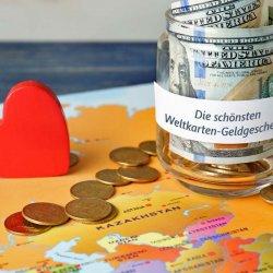 Geldgeschenk Weltkarte