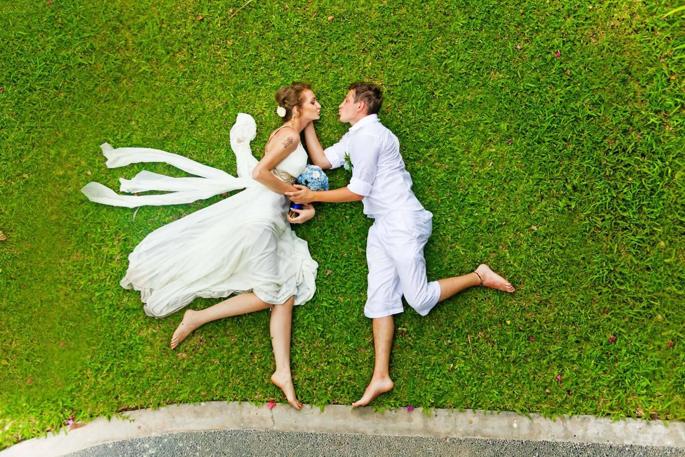 grüne Hochzeit Brautpaar