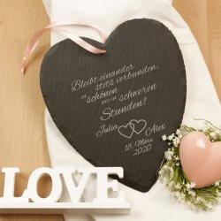 Schieferherz zur Hochzeit mit Gravur