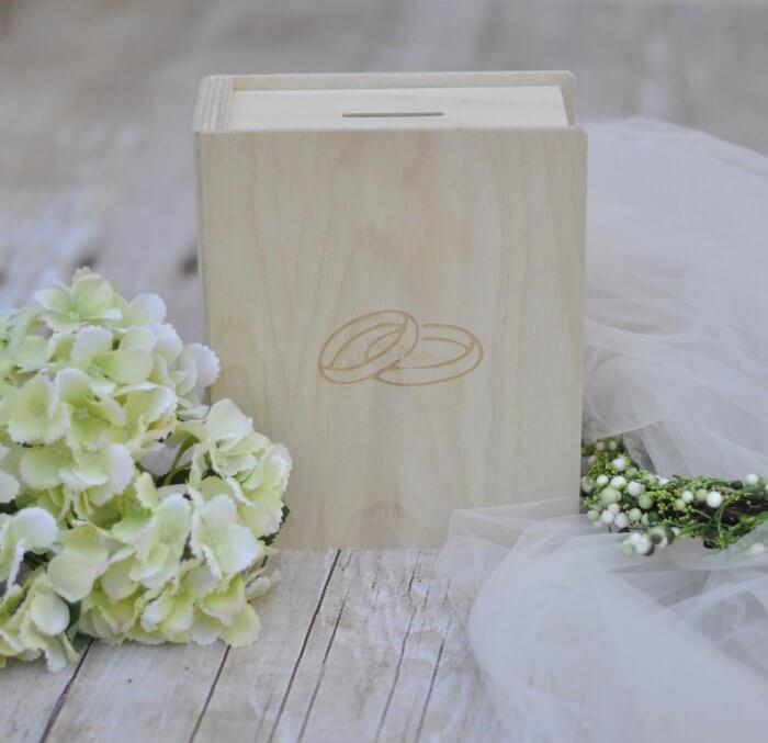 Hochzeitsspardose mit Motiv (Ringe)