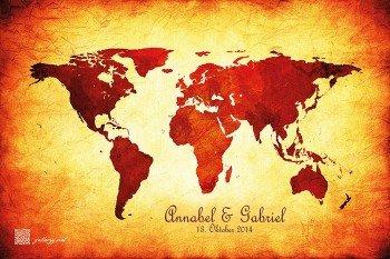 Hochzeitsspiel Weltkarte Reiseführer